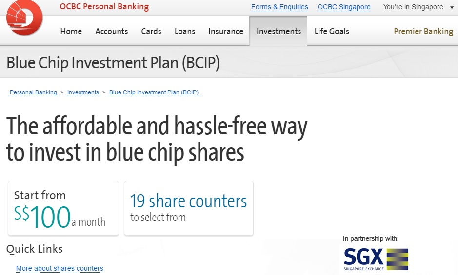 Invest SRS in OCBC Blue Chip Investment Plan