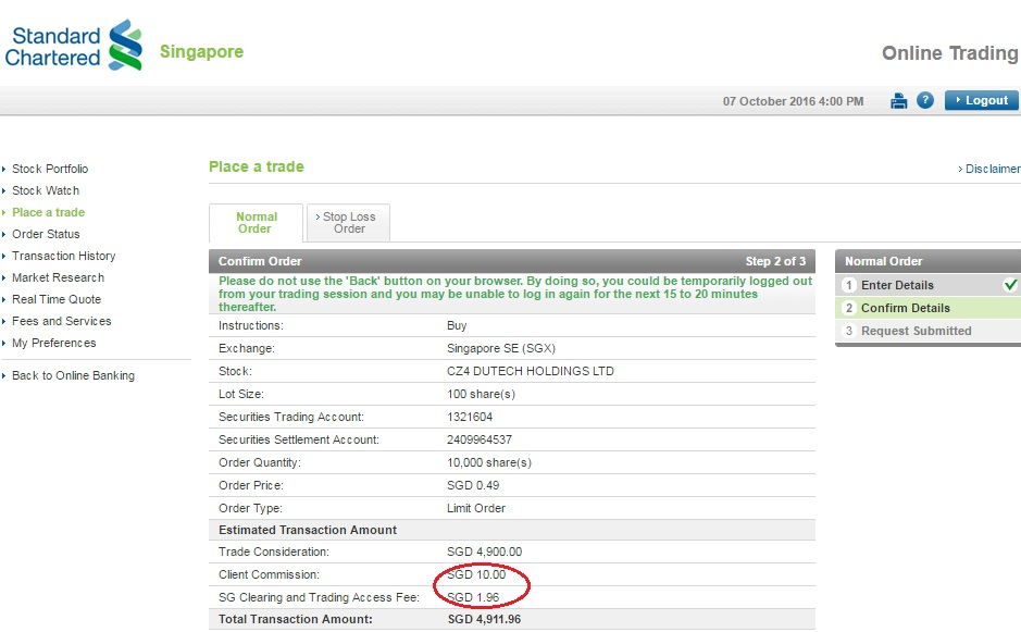 Commission Fee of Standard Chartered Online Equities Trading Account